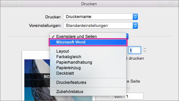 """Wählen Sie im Dialogfeld """"Drucken"""" den Eintrag """"Microsoft Word"""" aus, um weitere Druckeinstellungen zu konfigurieren."""