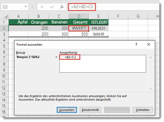 """Verwenden des Tools """"Formel auswerten"""", um festzustellen, welcher Teil einer Formel den Fehler verursacht"""