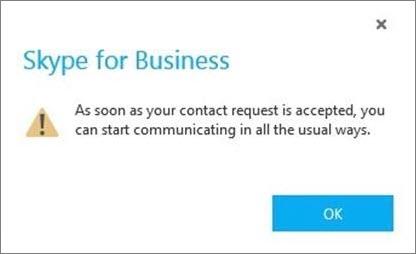 Benachrichtigung, dass der Skype-Benutzer die Anfrage akzeptieren muss