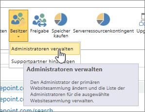 """Schaltfläche """"Besitzer"""" für SharePoint Online-Websiteadministratoren mit hervorgehobener Option """"Administratoren verwalten"""""""