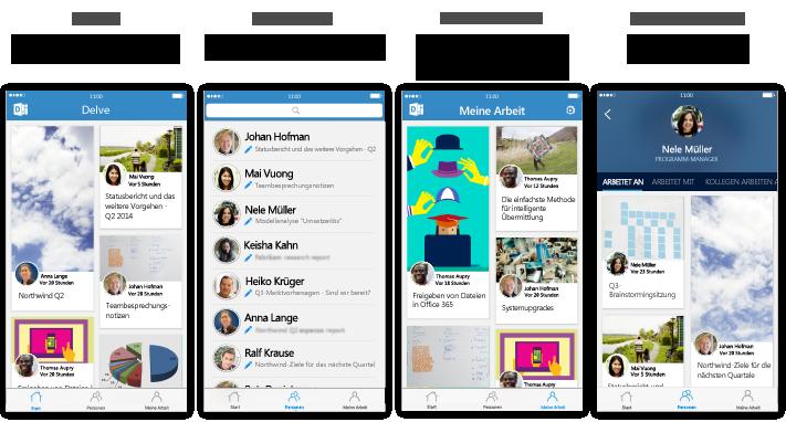 Vier Delve für iPhone-Bildschirme mit beschreibendem Text