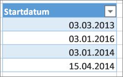 Unsortierte Datumswerte