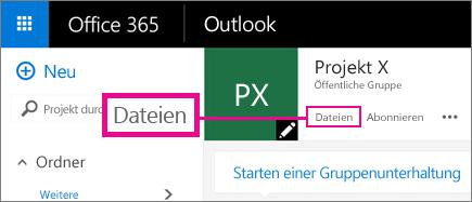 """Screenshot: Klicken auf """"Dateien in einer Gruppe"""", um für die Gruppe zu OneDrive zu wechseln"""