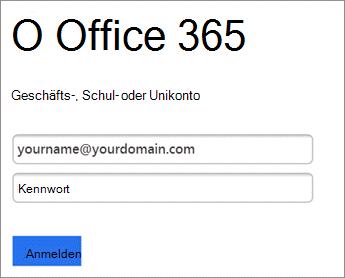 Geben Sie ein Kennwort für Office 365