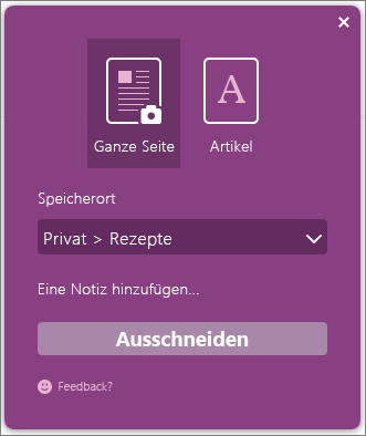 Screenshot des OneNote Clipper-Dialogfelds