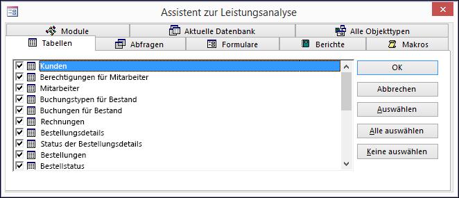 """Das Dialogfeld """"Assistent zur Leistungsanalyse"""" in Access"""