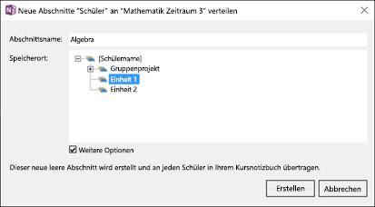 Screenshot zum Verteilen neuer Abschnitte im Add-In für OneNote-Kursnotizbücher.