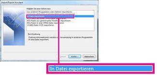 Option zum Exportieren in eine Datei im Import/Export-Assistenten