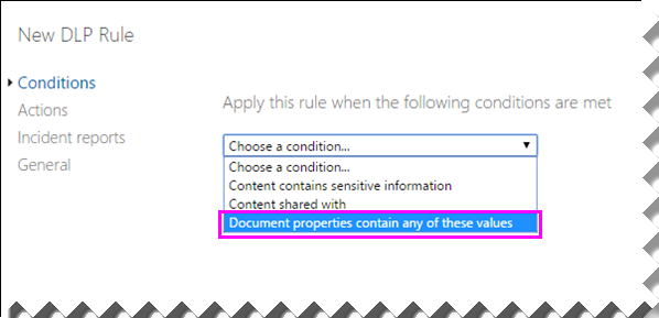"""Liste der Bedingungen, in der """"Dokumenteigenschaften enthalten einen dieser Werte"""" hervorgehoben ist"""