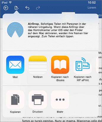 """Das Dialogfeld """"In einer anderen App öffnen"""" ermöglicht Ihnen das Senden Ihres Dokuments an eine andere App zum Senden per E-Mail, Drucken oder Teilen."""