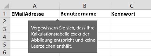 Zellenüberschriften in der Excel-Migrationsdatei