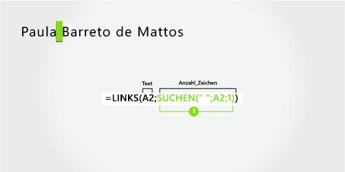 Formel zum Extrahieren eines Vornamens und eines dreiteiligen Nachnamens