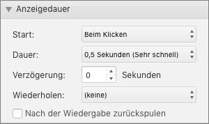 """Der Screenshot zeigt den Abschnitt """"Anzeigedauer"""" des Bereichs """"Animationen"""" mit den Optionen """"Start"""", """"Dauer"""", """"Verzögerung"""" und """"Wiederholen"""" und einem Kontrollkästchen für das Rückspulen nach abgeschlossener Wiedergabe."""
