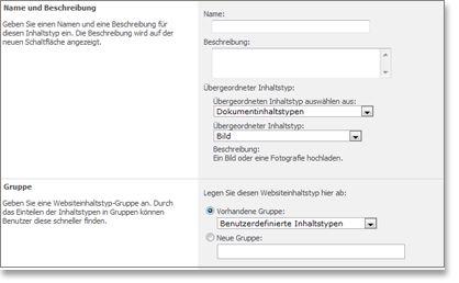 Fenster 'Neuer Websiteinhaltstyp'