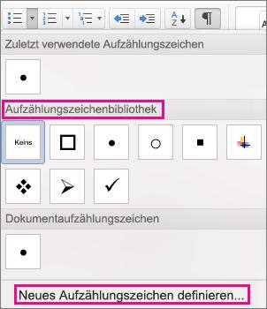 """Klicken Sie auf """"Neues Aufzählungszeichen definieren"""", wenn sich das gewünschte Symbol nicht im Aufzählungszeichenkatalog befindet."""