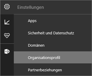 Screenshot des neuen Einstellungsmenüs mit ausgewähltem Organisationsprofil