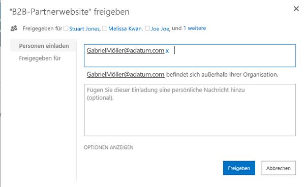 Beispiel zur erfolgreichen Einladung eines Benutzers, der sich im Unternehmensverzeichnis befindet.