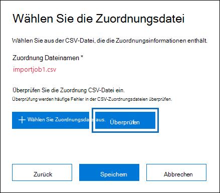 Klicken Sie auf prüfen, um die CSV-Datei auf Fehler überprüfen