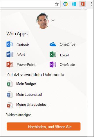 Klicken Sie in der Chrome Extensions-Leiste auf die Office Online-Erweiterung, um den Office Online-Bereich zu öffnen.