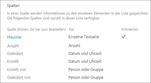 """Abschnitt """"Spalten"""" in """"Listeneinstellungen"""""""