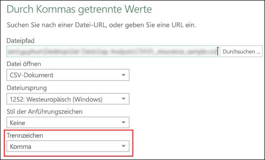 """Power Query – CSV-Connector: Möglichkeit zum Angeben eines Spaltentrennzeichens im Dialogfeld """"Quelle"""""""