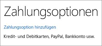 """Seite """"Zahlungsoptionen"""" mit dem Link """"Zahlungsoption hinzufügen"""""""