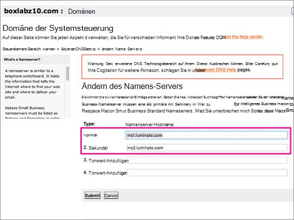 Löschen Sie die Nameservers auf der Seite Update Name Servers