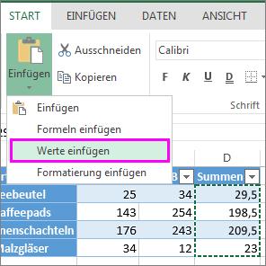 Schaltfläche 'Werte einfügen' unter 'Einfügen'