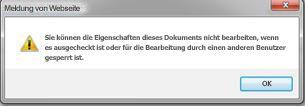Meldung, dass ein anderer Benutzer die Datei gesperrt hat