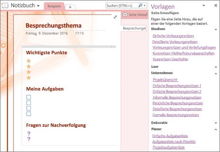 """Screenshot einer Notizbuchseite, die aus einer Besprechungsvorlage erstellt wurde Der Bereich """"Vorlagen"""" ist geöffnet."""