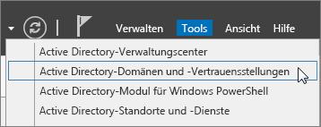 Active Directory-Domänen und -Vertrauensstellungen auswählen.