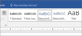 Screenshot der Optionen für Überschriftenformate