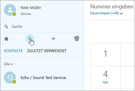 Screenshot, der zeigt, wo ein Telefonat mit Skype geführt wird