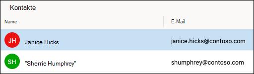 """Die Kontaktliste """"Kontakte"""" in Outlook."""