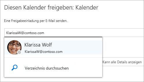 """Screenshot des Dialogfelds """"Diesen Kalender freigeben""""."""