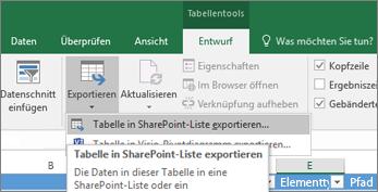 """In Excel hervorgehobener Link """"In SharePoint exportieren"""""""