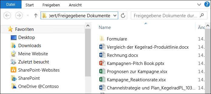 """Datei-Explorer nach Auswahl der Option """"Mit Explorer öffnen"""""""