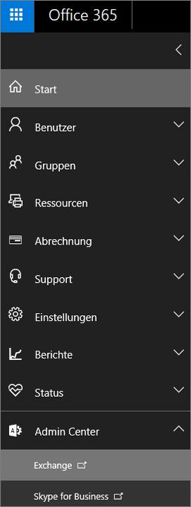 Der Screenshot zeigt das Office 365 Admin Center, in dem die Admin Center-Optionen erweitert sind und Exchange ausgewählt ist.