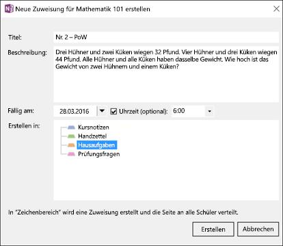 """Screenshot des Dialogfelds """"Neue Aufgabe erstellen"""" im Add-In für Kursnotizbücher."""