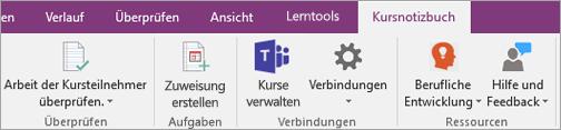 """Schaltfläche """"Kursnotizbuch"""" im OneNote-Menüband mit der Schaltfläche """"Kurse verwalten""""."""