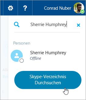 Ein Screenshot des Suchfelds im Bereich Skype
