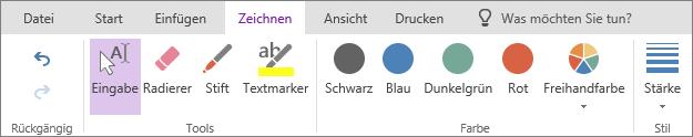 """Registerkarte """"Zeichnen"""" in OneNote Online"""