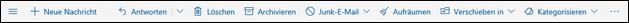 Nachrichtensymbolleiste von Outlook.com