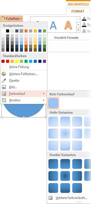Farbverlaufkatalog, geöffnet über 'Zeichentools Format' > 'Fülleffekt'