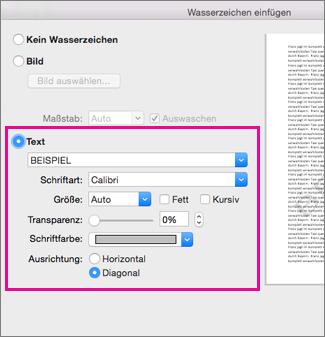 """Das Dialogfeld """"Wasserzeichen einfügen"""" mit hervorgehobenen Textoptionen"""