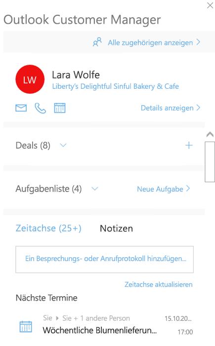 Willkommensseite von Outlook-Kunden-Manager