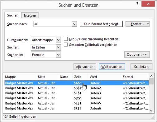 Suchen nach Links (externen Bezügen) in einer Arbeitsmappe - Excel