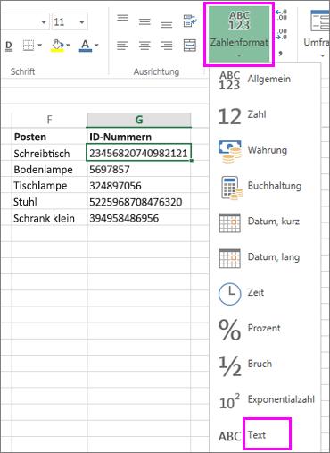 Format 'Text' auf Zahlen anwenden