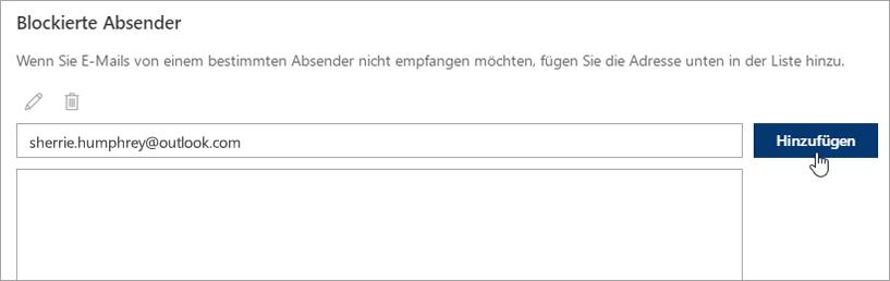 """Screenshot des Felds """"Blockierte Absender""""."""
