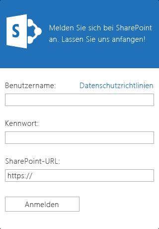 Screenshot des Anmeldebildschirms für ein iOS-Geräte mit SharePoint Newsfeed